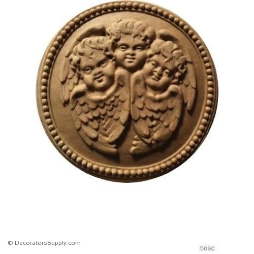 Rosette w/Cherubs - Circle 4 Diameter-woodwork-furniture-ornaments-Decorators Supply