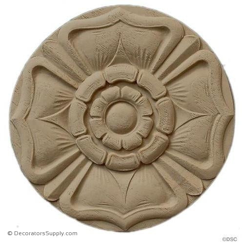 Rosette - Circle  4 1/4 Diameter 3/8 Relief-woodwork-furniture-ornaments-Decorators Supply
