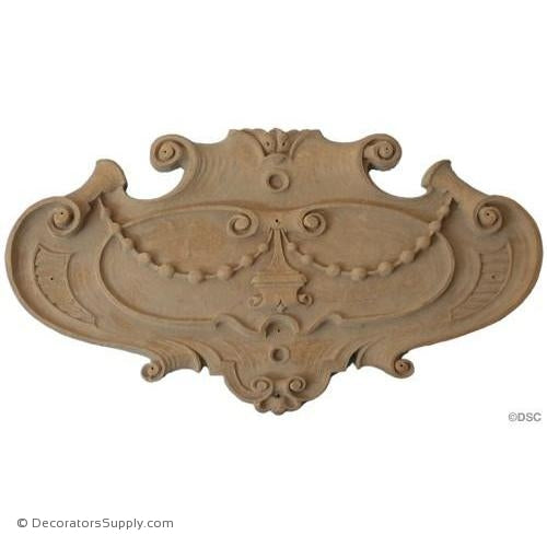 Shield 2 1/8 High 3 3/4 Wide 1/4 Relief-furniture-woodwork-ornaments-Decorators Supply