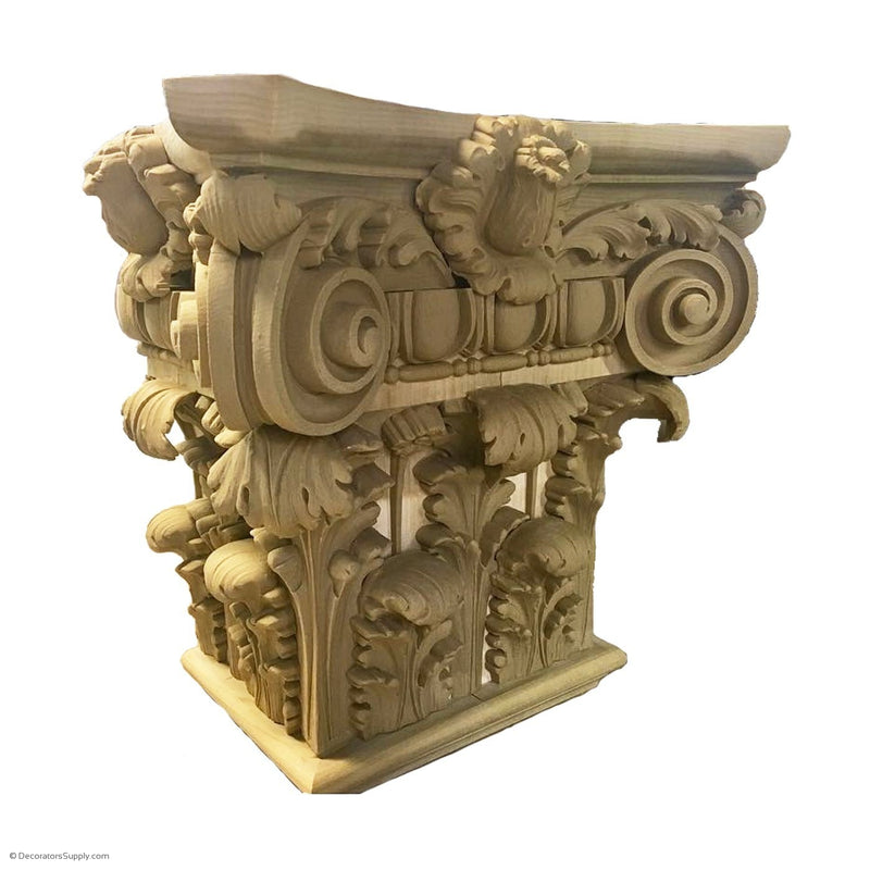 Stain Grade Wood Pilaster Capital [Half Sq] - Italian Renaissance  Bernardino - 8 Sizes