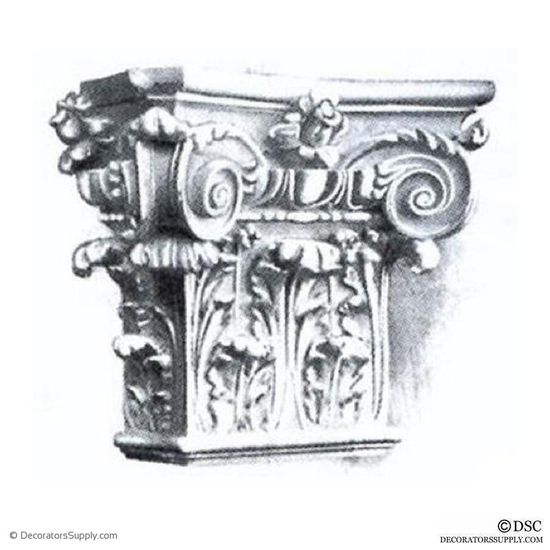 Plaster Pilaster Capital [Half Square] - Italian Renaissance Composite Bernardino-Decorators Supply