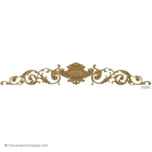 "Scroll and Shield Design - 5"" High x 28"" Wide x 1/2"" Relief-ornaments-for-woodwork-furniture-Decorators Supply"