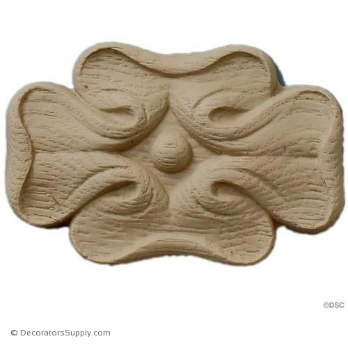 Rosette - 3 1/2 High 2 3/8 Wide 1/4 Relief-ornaments-for-woodwork-furniture-Decorators Supply