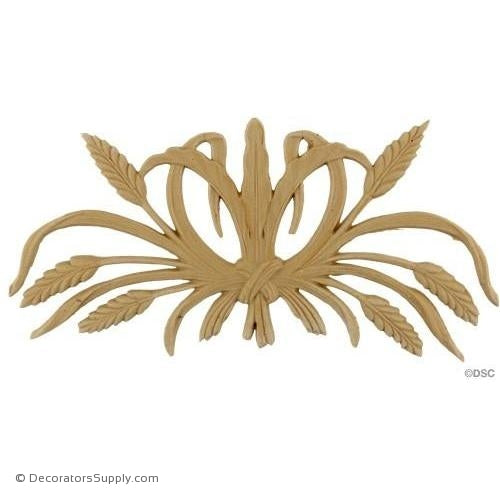 Wheat Design - 5 1/4 High 11 Wide 3/16 Relief-ornaments-for-woodwork-furniture-Decorators Supply