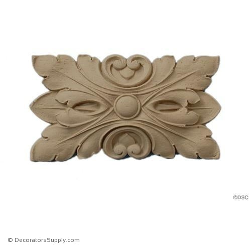 Rosette - 5 1/2 High 3 1/8 Wide 3/4 Relief-ornaments-for-woodwork-furniture-Decorators Supply