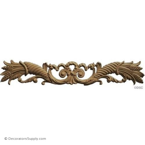 Cornucopias with Wheat - 3 High 19 Wide 1/4 Relief-ornaments-for-woodwork-furniture-Decorators Supply