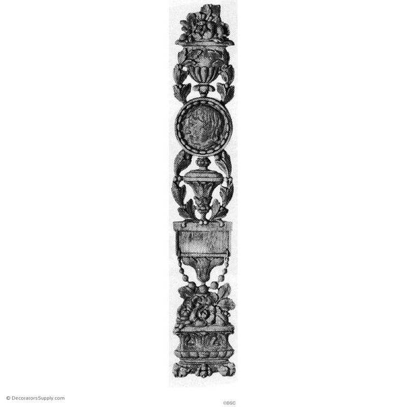 Floral Urn Pilaster Design - 19 1/2 High 3 1/2 Wide 3/8 Rlf-vertical-design-woodwork-furniture-Decorators Supply