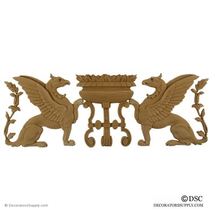 Decorative Griffin Applique for Wood 7 High 19 1/2 Wide 3/8 Relief - Decorators Supply