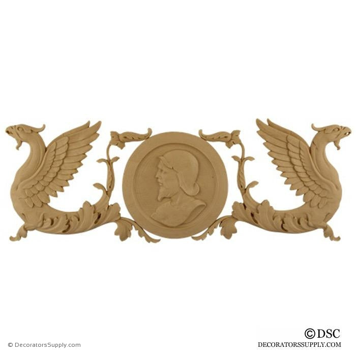 Decorative Griffin Applique for Wood 7 High 20 Wide 3/8 Relief - Decorators Supply
