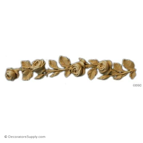 "Band of Roses 1 1/2 High X 8"" Wide-ornaments-furniture-woodwork-Decorators Supply"