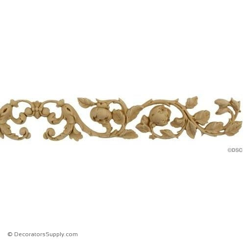 Floral Band with Center Scroll 1 1/2 H X 13 3/4 W-ornaments-furniture-woodwork-Decorators Supply