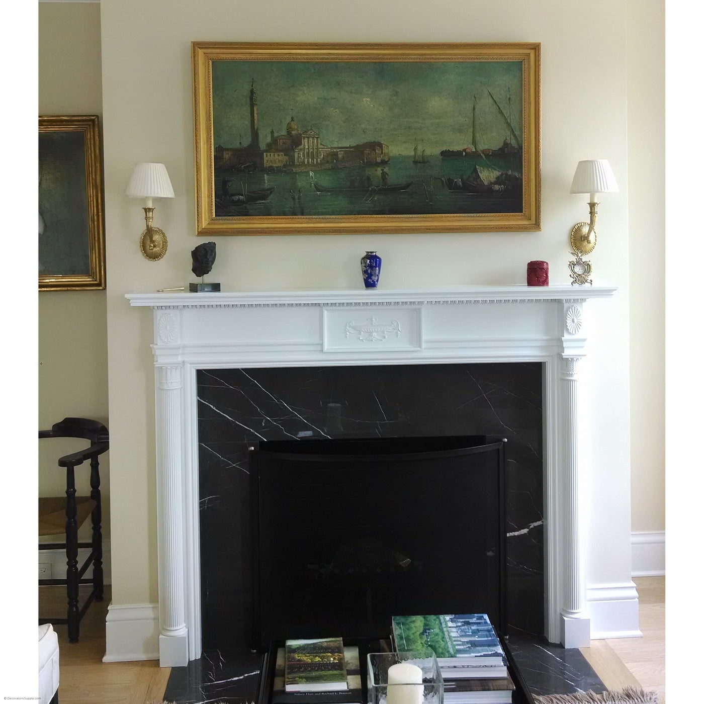 colonial fireplace mantel single reeded columns with cap
