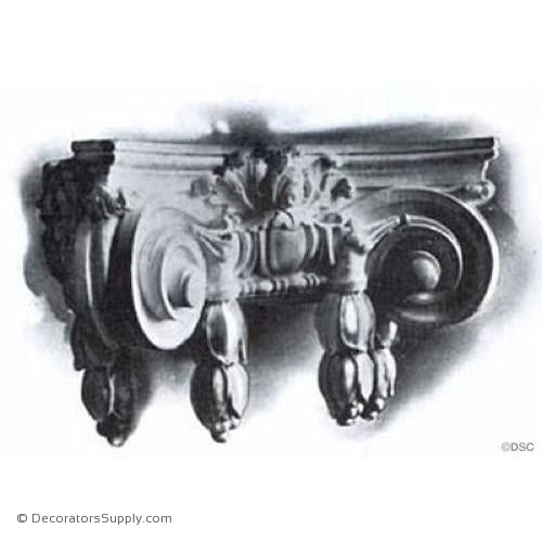 Stain Grade Wood Pilaster Capital [Half Square] - Italian Renaissance Ionic Scamozzi w/ Drops-Decorators Supply
