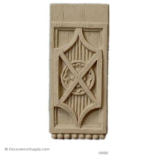 Rosette - Rectangular 3 1/4 High 1 3/4 Wide-ornaments-for-woodwork-furniture-Decorators Supply
