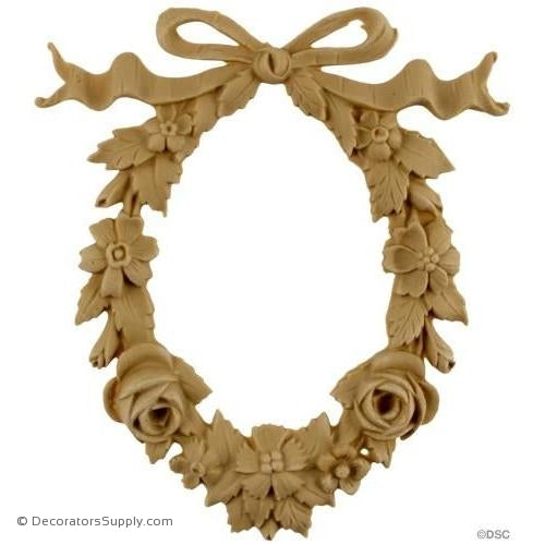 Floral Wreath 6 1/2 High 5 3/4 Wide-ornaments-for-woodwork-furniture-Decorators Supply