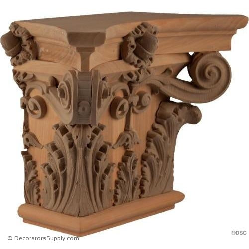 Stain Grade Wood Pilaster Capital [Half Square] - Italian Renaissance Corinthian Sansovino-Decorators Supply