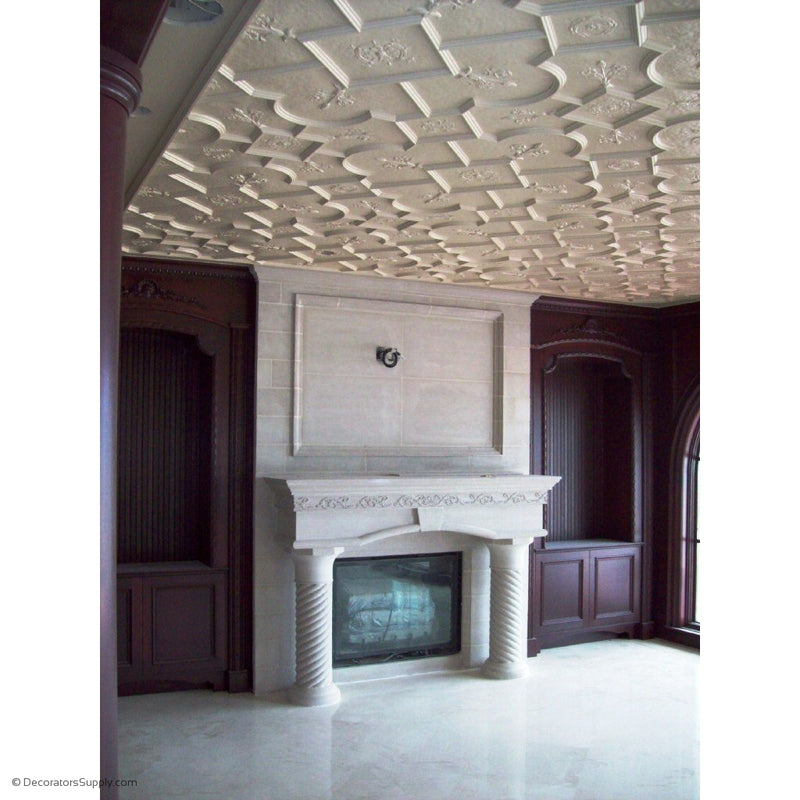 "Plaster Old English Ceiling  Ornamented Small Panel  1-1/2"" Relief  Covers 6 SF"