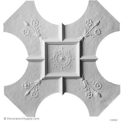 "Plaster Old English Ceiling - Small Panel - 1 1/2"" Relief-Hand-cast-all-natural-Decorators Supply"