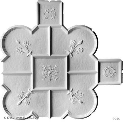 "Old English Ceiling Hammered W/Ornament - 36"" Sq - 1-1/2"" Rel-Hand-cast-all-natural-Decorators Supply"