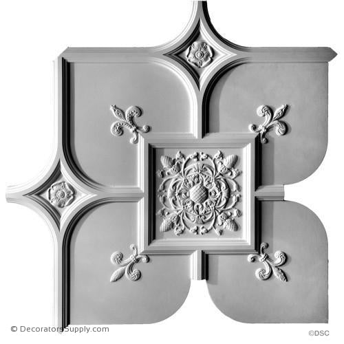 "Old English Ceiling Smooth W/Ornament-36 1/2"" Sq x 1 1/8"" R-Hand-cast-all-natural-Decorators Supply"