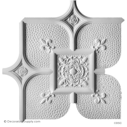 "Old English Ceiling Hammered W/Ornament -36 1/2"" Sq-1 1/8"" R-Hand-cast-all-natural-Decorators Supply"