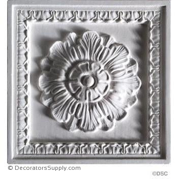 "Italian Coffered Square 6 1/4"" x 1 1/4""-Hand-cast-ceiling-ornaments-Decorators Supply"