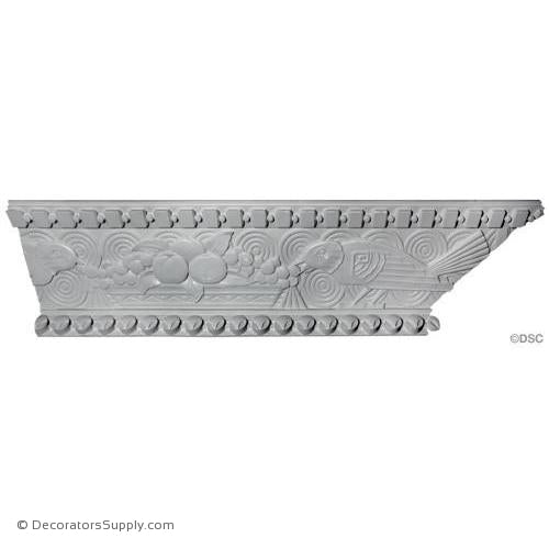 Plaster Crown-Art Deco-10 1/4 Proj X 4 1/2 Drop X 55 1/2 Rep-Decorators Supply