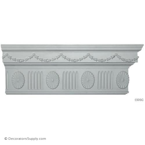 "Plaster Crown-Colonial-2 3/8""Proj X 8 3/4""Drop-6""Repeat-Decorators Supply"
