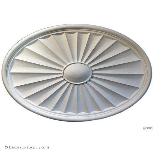 "Plaster Oval Medallion-40 1/8"" x 26 1/8"" x 1 3/4"" Relief-ceiling-ornament-Decorators Supply"