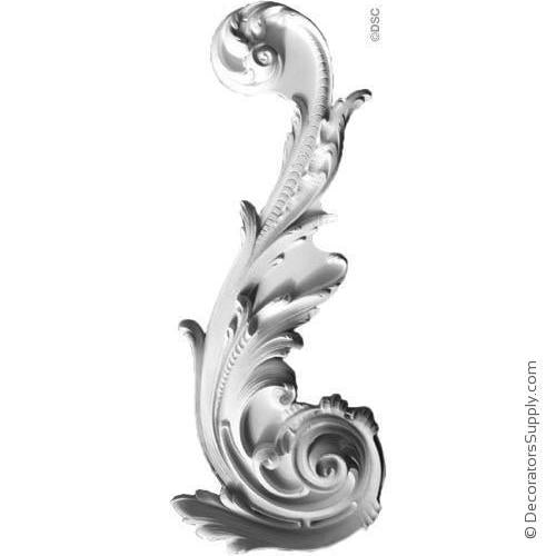 "Plaster Acanthus Scroll French 26"" x 10-1/2"" x 1-3/4"" Relief"