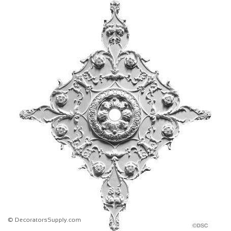 "Plaster Medallion With Inset Ring- 32"" X 38 1/2""- 1"" Rel-ceiling-ornament-Decorators Supply"