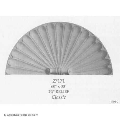 "Plaster Shell-Classic-60"" X 30""-2 3/4"" Relief-niche-shell-Decorators Supply"
