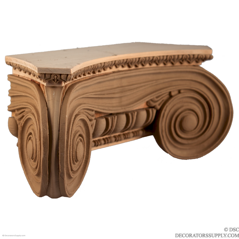 Stain Grade Wood Pilaster Capital [Half Square] - Greek Angular Ionic Minerva Polias-Decorators Supply