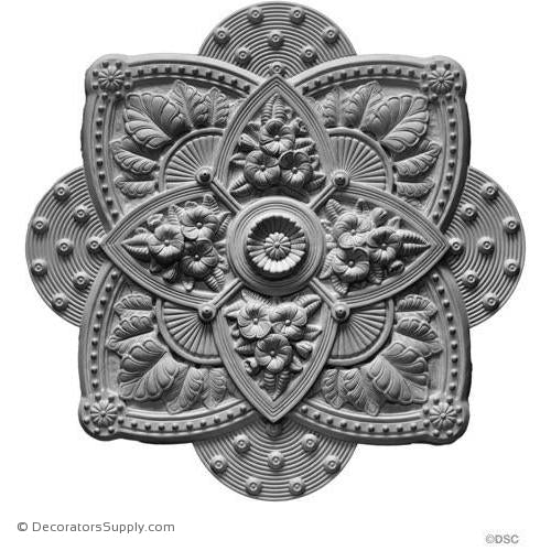 "Plaster Medallion Victorian 34"" Square x 2 1/4"" With Plug-ceiling-ornament-Decorators Supply"