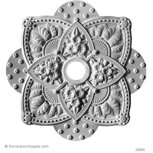 "Plaster Medallion Victorian 34"" Square x 2 1/4"" 4 1/4"" Hole-ceiling-ornament-Decorators Supply"