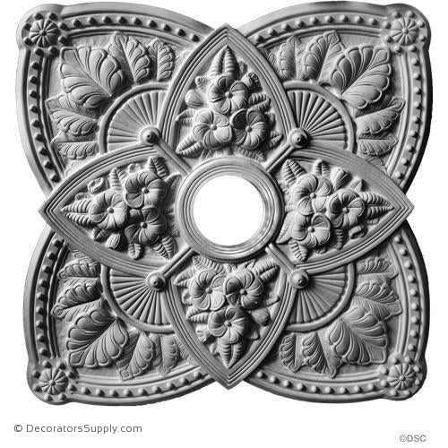 "Plaster Medallion Victorian 26 1/4"" Sq x 2 1/4"" 4 1/4"" Hole-ceiling-ornament-Decorators Supply"