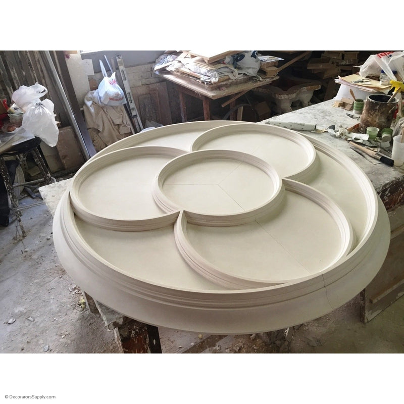 "55"" Diameter Plaster Medallion Geometric x 3-7/8"" Relief - Supplied In 3 Pieces"