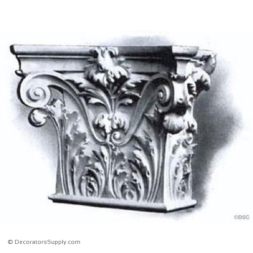 Stain Grade Wood Pilaster Capital [Half Square] - Italian Renaissance Venice-Decorators Supply