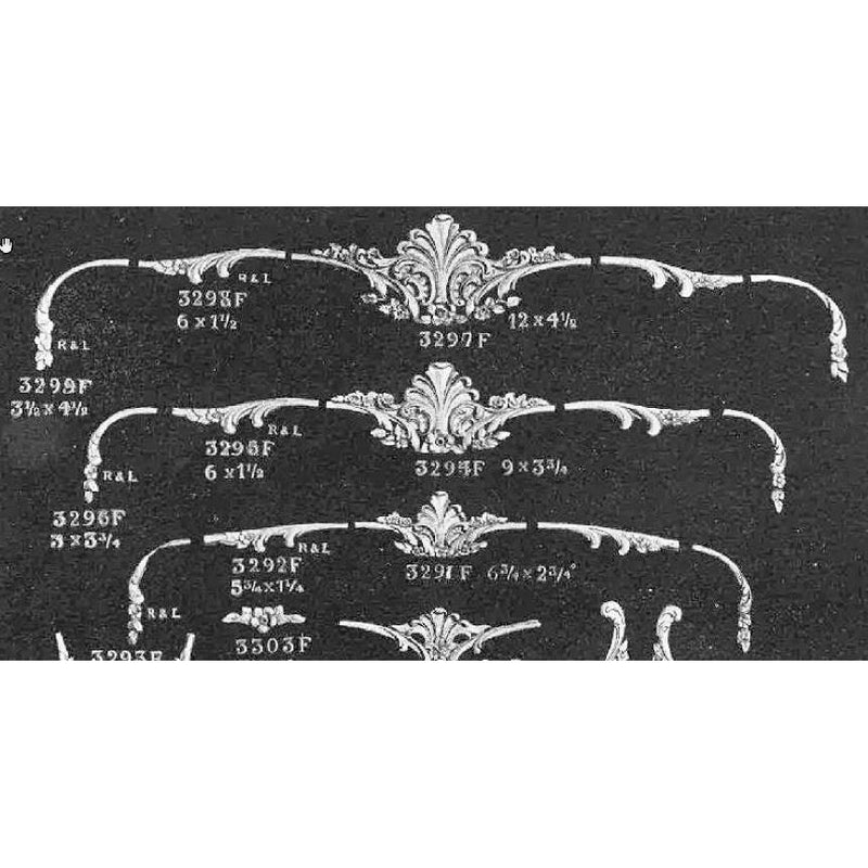 "Cartouche Offered in 3 Sizes From 6-3/4"" to 12"" With Matching End Pieces"