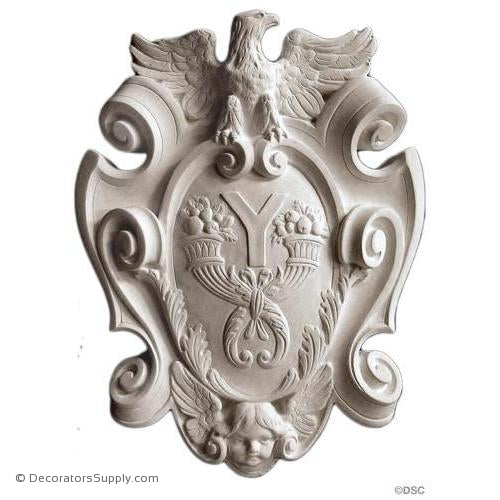 "Plaster Shield-French-18 1/2"" X 14""-2 3/4"" Relief-Decorators Supply"