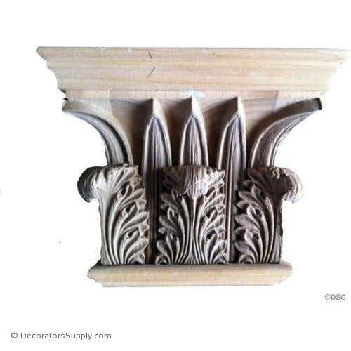 Stain Grade Wood Pilaster Capital [Half Square] - Greek Corinthian Temple of the Winds-Decorators Supply