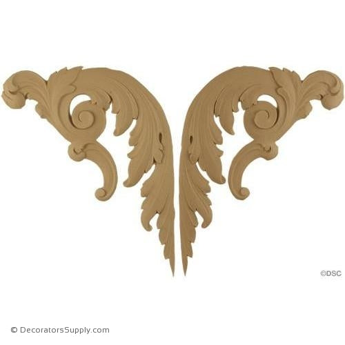 Acanthus Scrolls - 6 3/4 H x 9 W-ornaments-for-furniture-wooodwork-Decorators Supply