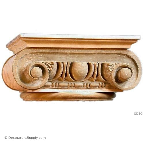 Stain Grade Wood Capital [Round] - Roman Ionic Roman-hand-built-Decorators Supply