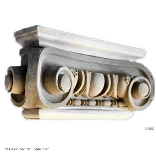Stain Grade Wood Pilaster Capital [Half Square] - Roman Angular Ionic Naples-Decorators Supply