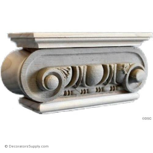 Stain Grade Wood Pilaster Capital [Half Square] - Roman Ionic Roman-Decorators Supply