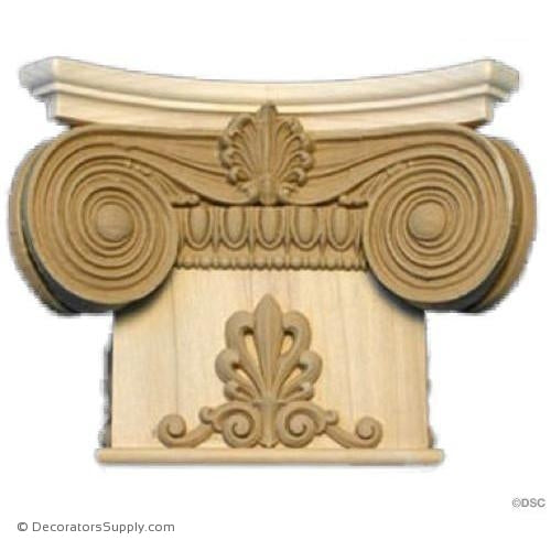 Stain Grade Wood Pilaster Capital [Half Square] - Ionic Renaissance Chicago-Decorators Supply