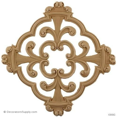 Rosette - Open Tracery - 9 3/4 High 9 3/4 Wide-ornaments-for-woodwork-furniture-Decorators Supply