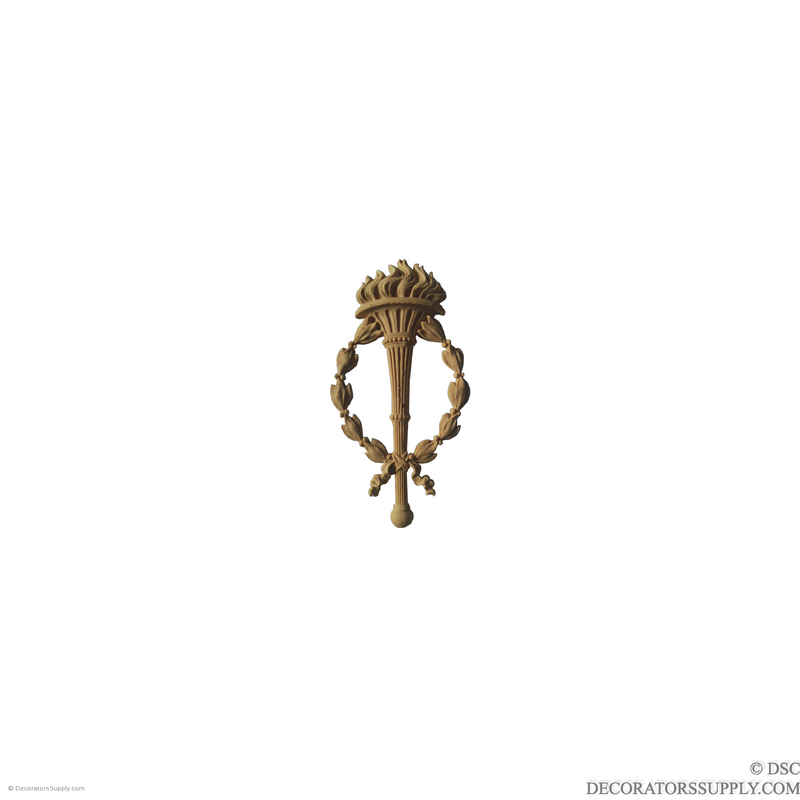 Torch and Wreath Applique 7 5/8 High 3 7/8 Wide-ornaments-for-woodwork-furniture-Decorators Supply