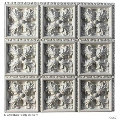 "Plaster Italian Ceiling- 24 1/2"" Sq. Panels-1 1/4"" Relief-Hand-cast-all-natural-Decorators Supply"