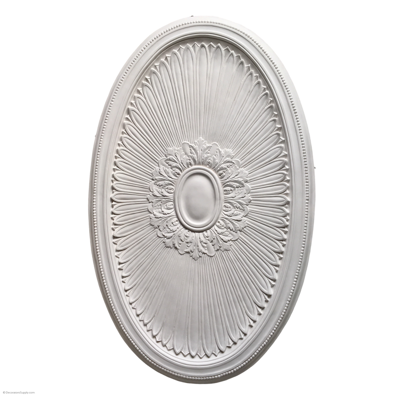 "54"" x 33-7/8"" Plaster Oval Medallion Louis XIV x 1-1/2"" Relief"